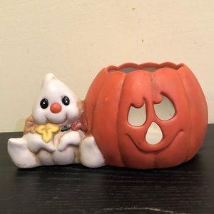 Ghost & Pumpkin Ceramic Halloween Votive Holder